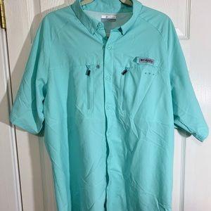 COLUMBIA PFG Teal Fishing Sportswear